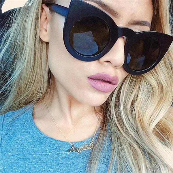 2017 New Arrivals Retro Mirrored Lenses Women Summer Round Frame Sunglasses Glasses Shades Fashion Cat Eye