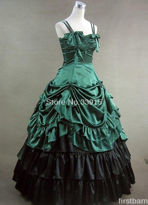 Robe Legance De Livraison Bal Robes Vert Longue Lolita Satin Gratuite Gothique Victorienne YqwO7qzxa