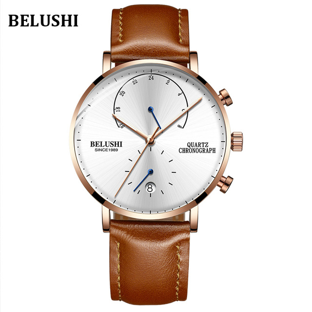 Mens Waterproof Watches Leather Strap Slim Quartz Casual Business Mens Wrist Watch Top Brand Belushi Male Clock Fashion