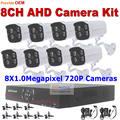 Безопасность микро-hdmi 8CH ахд DVR 1.0MP ночного видения ик-камера видеонаблюдения водонепроницаемый высокой четкости видео наблюдения ахд DVR система