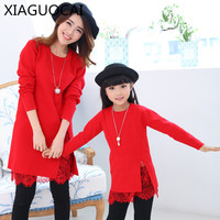 Dream Xia Spring Autumn Family Matching Outfits Mother Daughter Girl Dress Solid Color Long Sleeves Lace