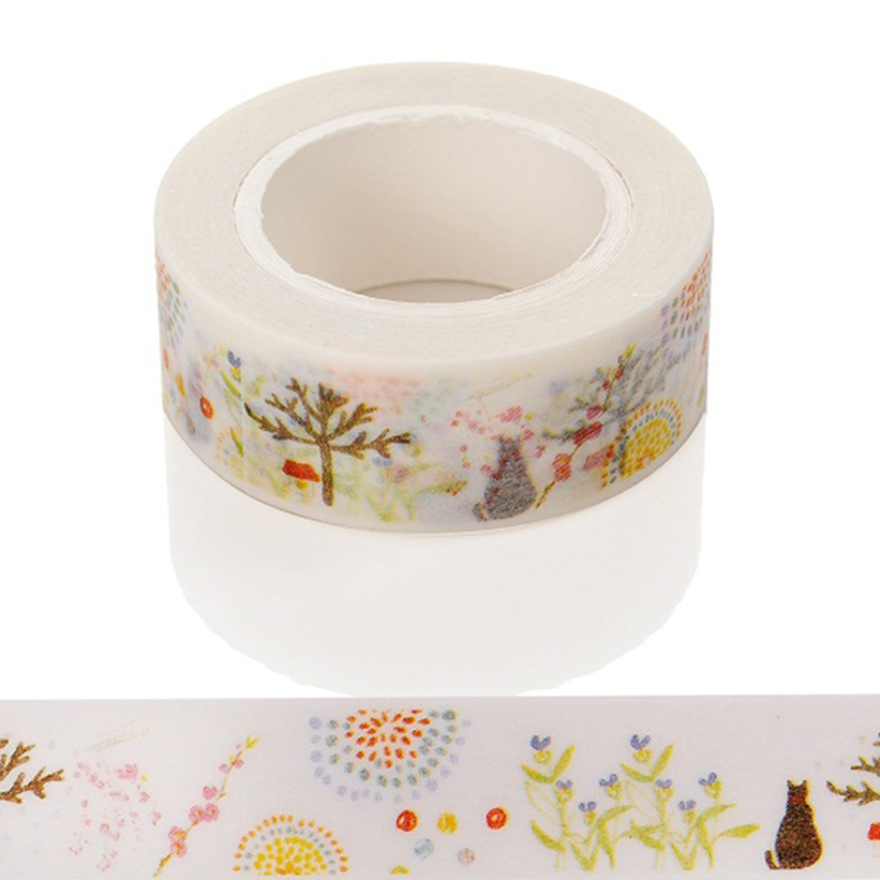 1 Pc Cats And Grass Cartoon Washi Paper Masking Tapes DIY Scrapbooking Decors Decorative Stickers Gift Wrapping Sticker