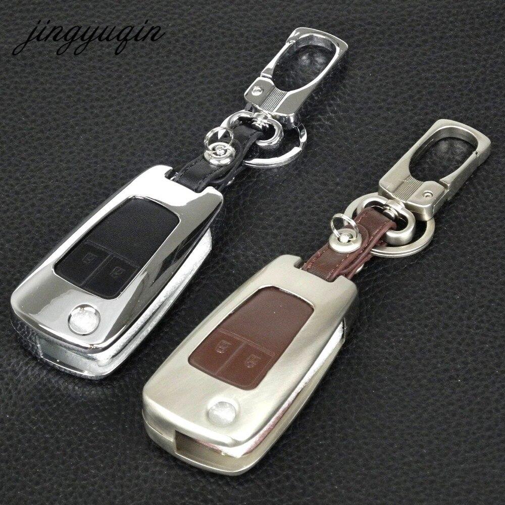 Jingyuqin 2 Bouton de Zinc En Cuir Flip À Distance Key Case pour Chevrolet Lova OPEL VAUXHALL Insignia Astra J Buick Couvercle du Clavier