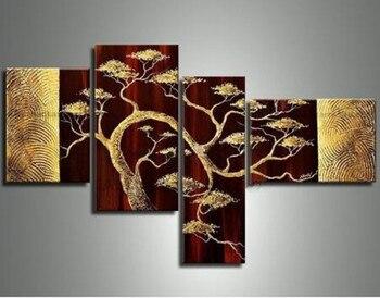 Büyük Altın çam Ağacı Resimleri 4 Panel Duvar Boyama Gruplarını Ev
