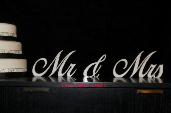 Mr and Mrs Wedding Signs Wooden Cutout Painted Mr & Mrs Standing Letters Glittered or Colorful Freestanding Script Signs