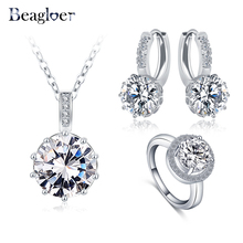 Beagloer Newest Classical Women Jewelry Set Round Necklace/Earring/Ring Set Parure Bijoux Wedding Jewelry Sets CST0034-B