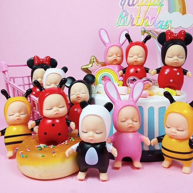 Bonecas bebê dormir Bjd boneca bebe reborn Keychain brinquedo para crianças meninas Juntas de pvc presente de Natal crianças brinquedo do bebê nascer pode mover 7-cm