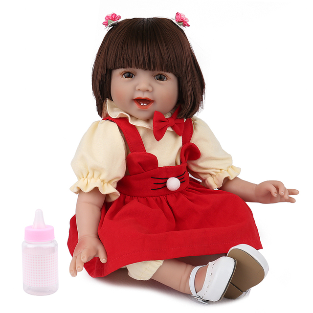 NPKDOLL 22 Inch Reborn Doll Silicone Body 55cm Red Clothes Girl Lovely toys for kids Friends Educational Playing games playmate