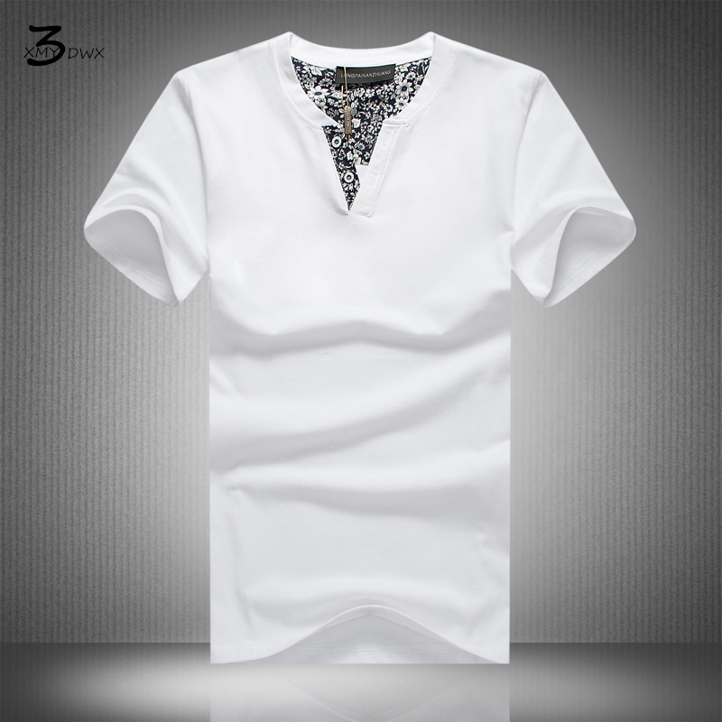 XMY3DWX Hot Sale New summer high-elastic pure cotton t-shirts mens shor sleeve v neck tight t shirt Free shipping Asia S-XXXXXL ...