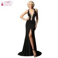Пикантные черные сапоги платье для выпускного вечера с золотой Кружево Аппликации Холтер разрез Для женщин Выпускные платья платье реальн