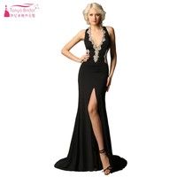 Sexy Black Prom Dress With Gold Lace Appliques Halter Slit Women Prom Dresses Gown Real Photos