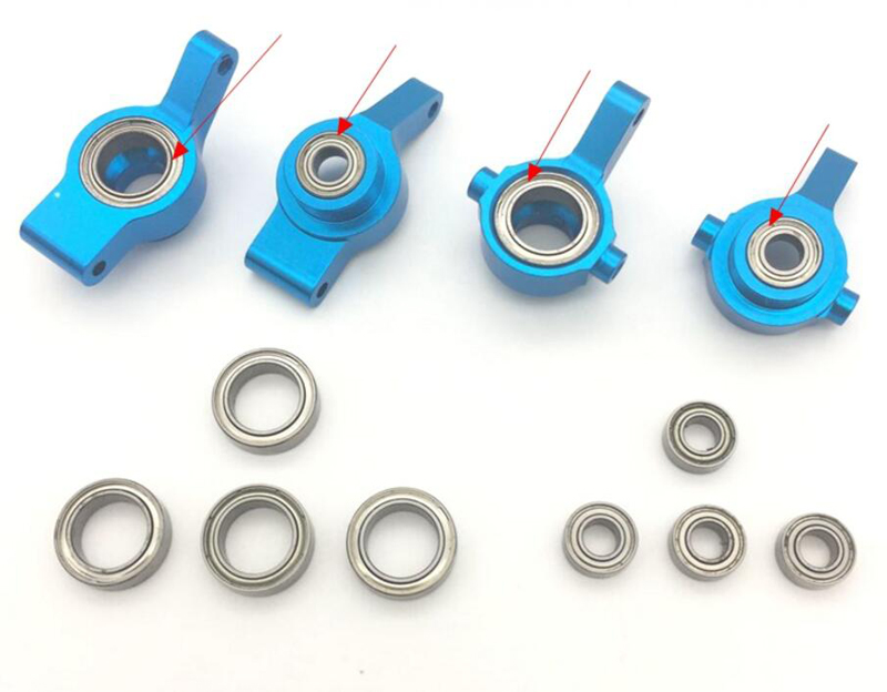 1set Wltoys 1/18 RC Car Front Rear Steering Hub Base Hub Carrier Ball Bearings Kit for Wltoys A959 A969 A979 A949 K929 Parts aluminum front rear steering hub base c carrier