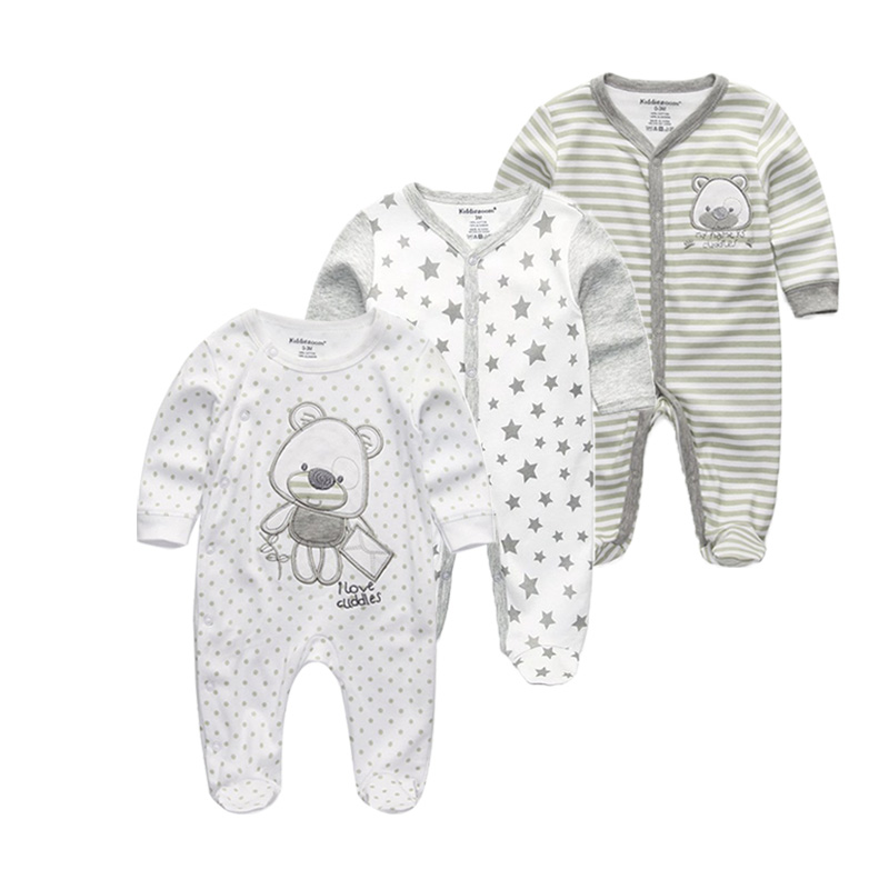3 PCS/lot newbron Top Quality baby rompers Full sleeve baby clothing 0-12M Cotton baby jumpsuit ropa bebe baby girl clothes new 2017 brand quality 100% cotton newborn baby boys clothing ropa bebe creepers jumpsuit short sleeve rompers baby boys clothes