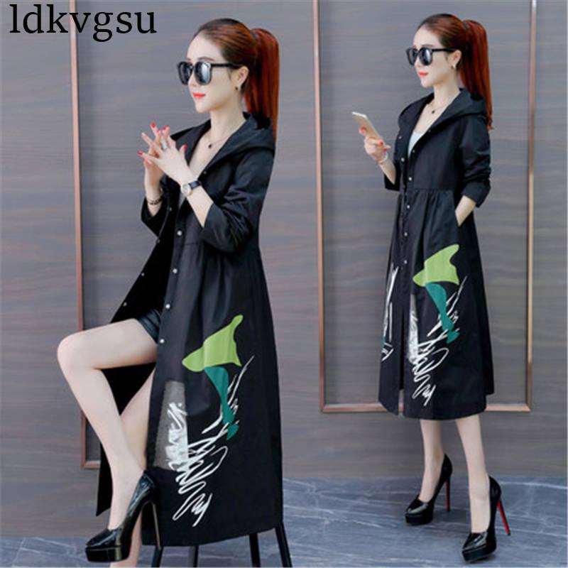 2019 Vintage Spring Autumn embroidery Windbreaker Women runway elegant loose lady plus size Long   Trench   Coat Female V413