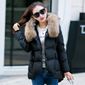 Autumn Winter Fashion New Arrive 2016 Women Down Cotton Coat Medium Length Casual Fake Fur Collar Hooded Outwear Women Parkas