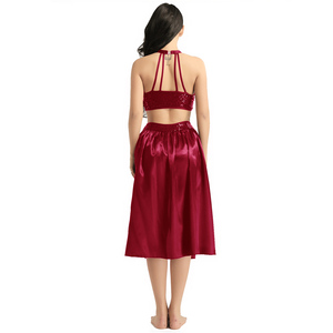 Image 4 - TiaoBug Adult Women Ballet Dress Sequin Halter Crop Top with Built In Leotard Skirt Set Stage Performance Lyrical Dance Costumes