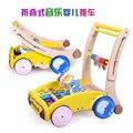 Madera coche empuje bebé a pie de aprendizaje multi-función plegable andador niños música walker