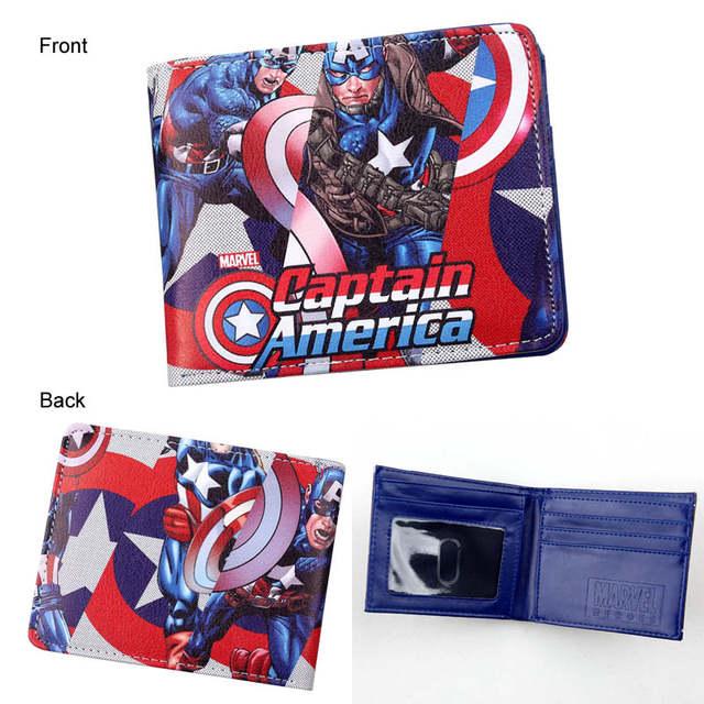 ics Marvel Avengers Superhero Captain America Shield Faux Leather Bifold Wallet ID Cash Purse 640x640q70