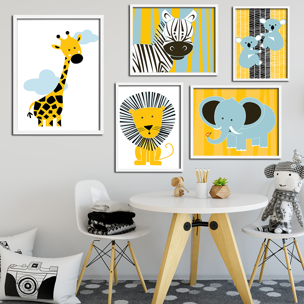 Cartoon Animals Wall Picture Painting Nursery Art Poster Canvas Prints Modern Baby Kids Wall Decor