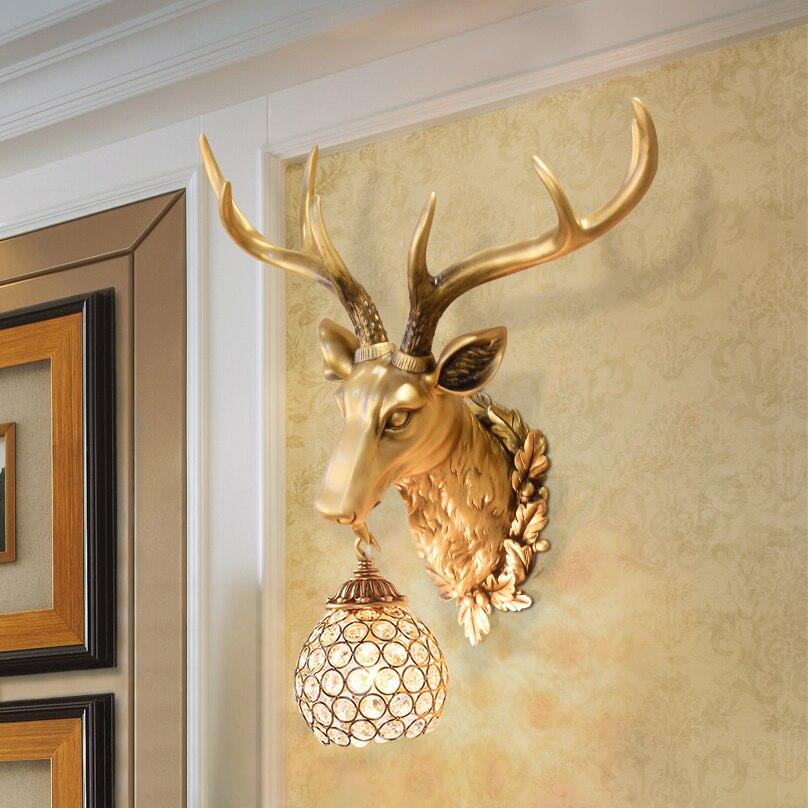 Retro retro wall lamp antlers wall room living bed bedside Deer head ...