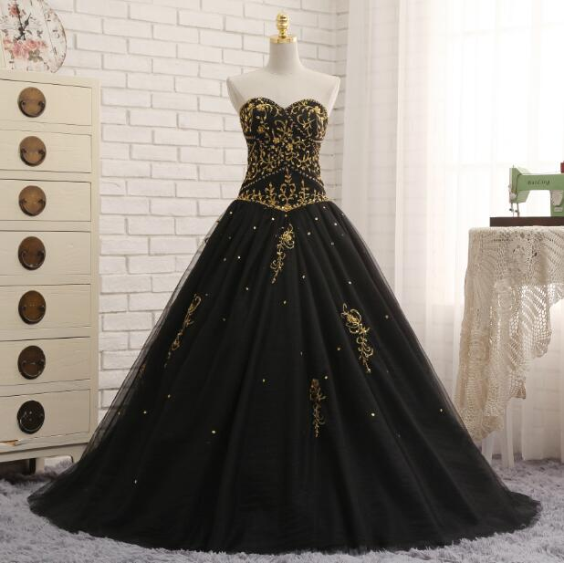 Black Quinceanera Dresses Tulle With Gold Embroidery
