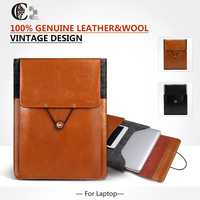 Vintage Sleeve Pouch Bag Genuine Leather Wool Felt Case For Apple Macbook 12 Laptop Bag Case