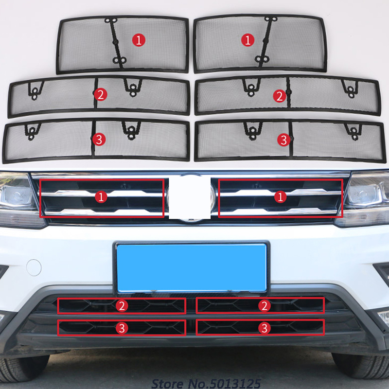 Car Insect Screening Mesh Front Grille Insert Net Accessories For Volkswagen VW Tiguan MK2 2017 2018 2019 Car Stylings