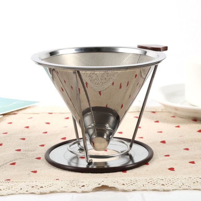 Stainless Steel Drip Dripper Double Layer Mesh Coffee Cone Filter Holder Infuse Home Kitchen