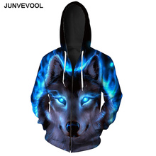 Galaxy Wolf 3D Tracksuit Hoodies Autumn With Cap Men Tops Harajuku Fitness Sportswear Male Zipper Style Workout Plus 6XL Hoodie