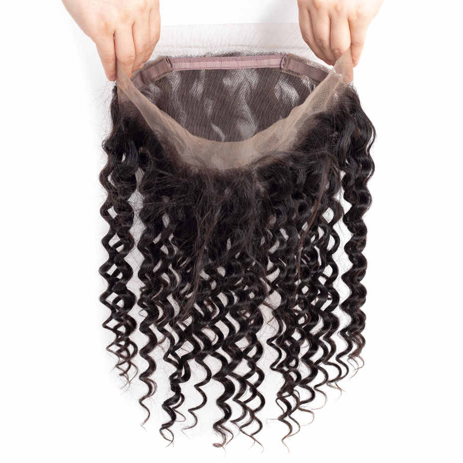 Bling Hair Brazilian Deep Wave Closure 360 Lace Frontal 100% Remy Human Hair Closure with Baby Hair Free Part Natural Color
