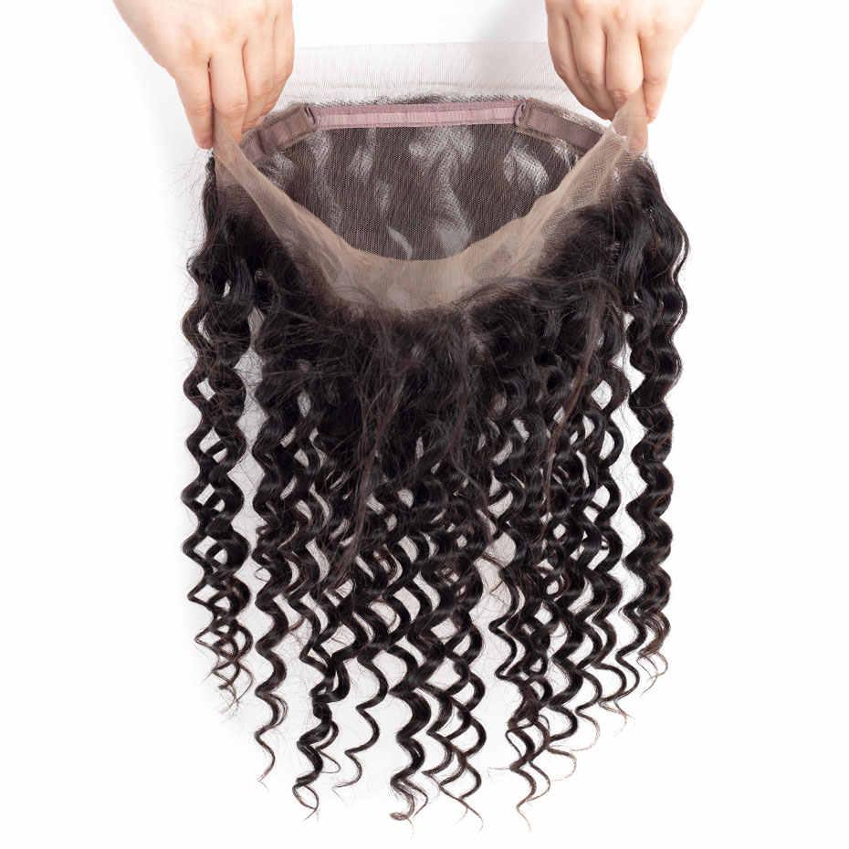Bling Hair brazylijska głęboka fala zamknięcie 360 koronka Frontal 100% Remy uzupełnienie splotu ludzkich włosów z dzieckiem włosy wolna część Natural Color