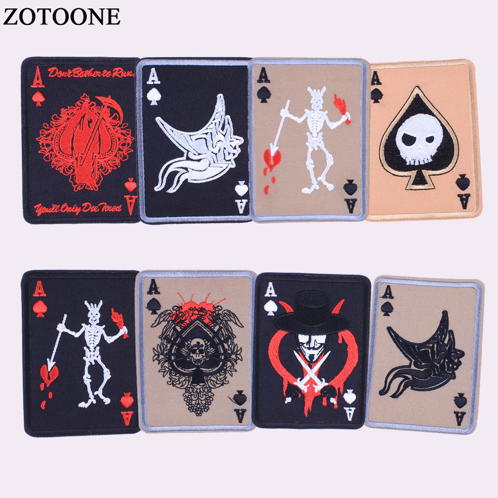 Apparel Sewing & Fabric Tad Death Card Rectangular Badge Embroidery Poker Tactical Badges Hook And Loop Military Morale Armband Army Combat Badge Special Summer Sale