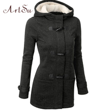 ArtSu Winter&Autumn New Women Jacket Long Warm  Parka Coat Plus Size Thick Fur Hoodied Coats Collar Cotton Jackets ASCO20009