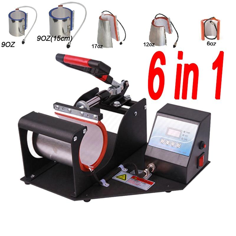 ST-610 6 In 1 Combo Mug Press Machine Mug Printing Machine Sublimation Printer For 6oz/9oz/11oz/12oz/17oz Cup