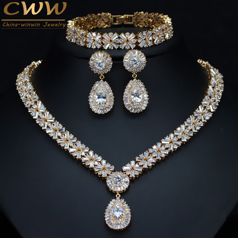CWWZircons Exclusive Dubai Gold Color Jewellery Luxury Cubic Zirconia Necklace Earring Bracelet Party Jewelry Set For Women T053