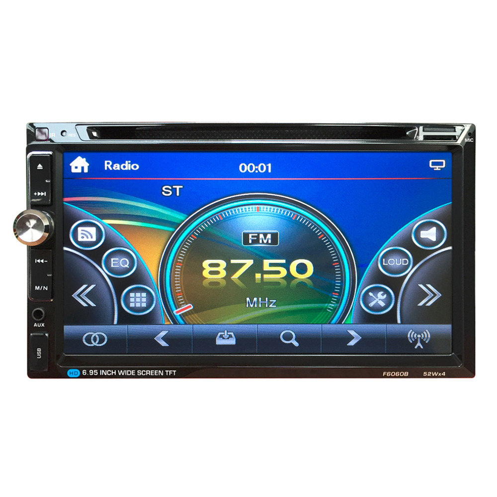 Universal F6060B Universal Car Vehicle 7 Inch Large Touch Screen Display Dual Din DVD Player Multimedia Player Car Entertainment 9 inch car headrest dvd player pillow universal digital screen zipper car monitor usb fm tv game ir remote free two headphones