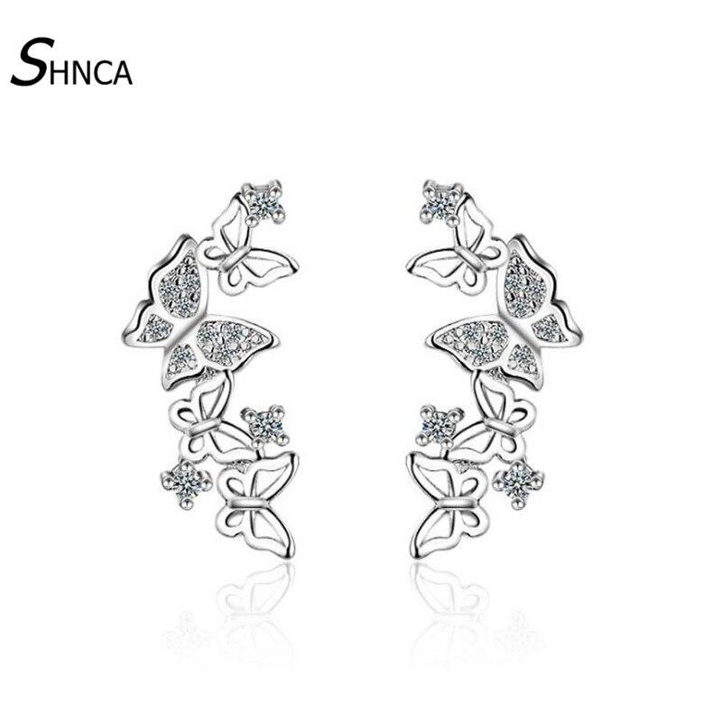 font b Luxurious b font Romantic 925 Sterling Silver Multiple Butterfly Zircon Rhinestone Stud Earrings