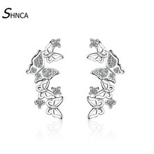 Luxurious Romantic 925 Sterling Silver Multiple Butterfly Zircon Rhinestone Stud Earrings For Women Jewelry Pendientes E098