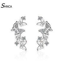 Luxurious Romantic 925 Sterling Silver Multiple Butterfly Zircon Rhinestone Stud Earrings For Women Jewelry Pendientes E098