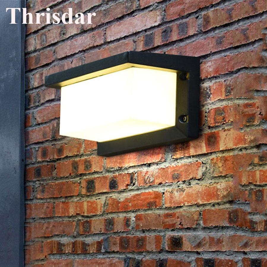 цена Thrisdar 10W Outdoor Lighting Waterproof LED Wall Lamp Aluminum Villa Courtyard Garden Porch Wall Light Outside Lighting Fixture