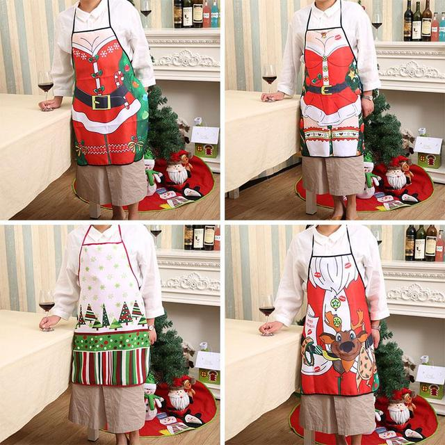 christmas apron bell skirt deer pattern home women cooking funny sexy decoration - Christmas Apron