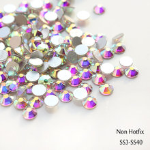 Venta! Super Brillante 1440 unids/bolsa ss3-ss40 Crystal Clear AB color 3D FlatBack Del Hotfix no Nail Art Decoraciones Flatback