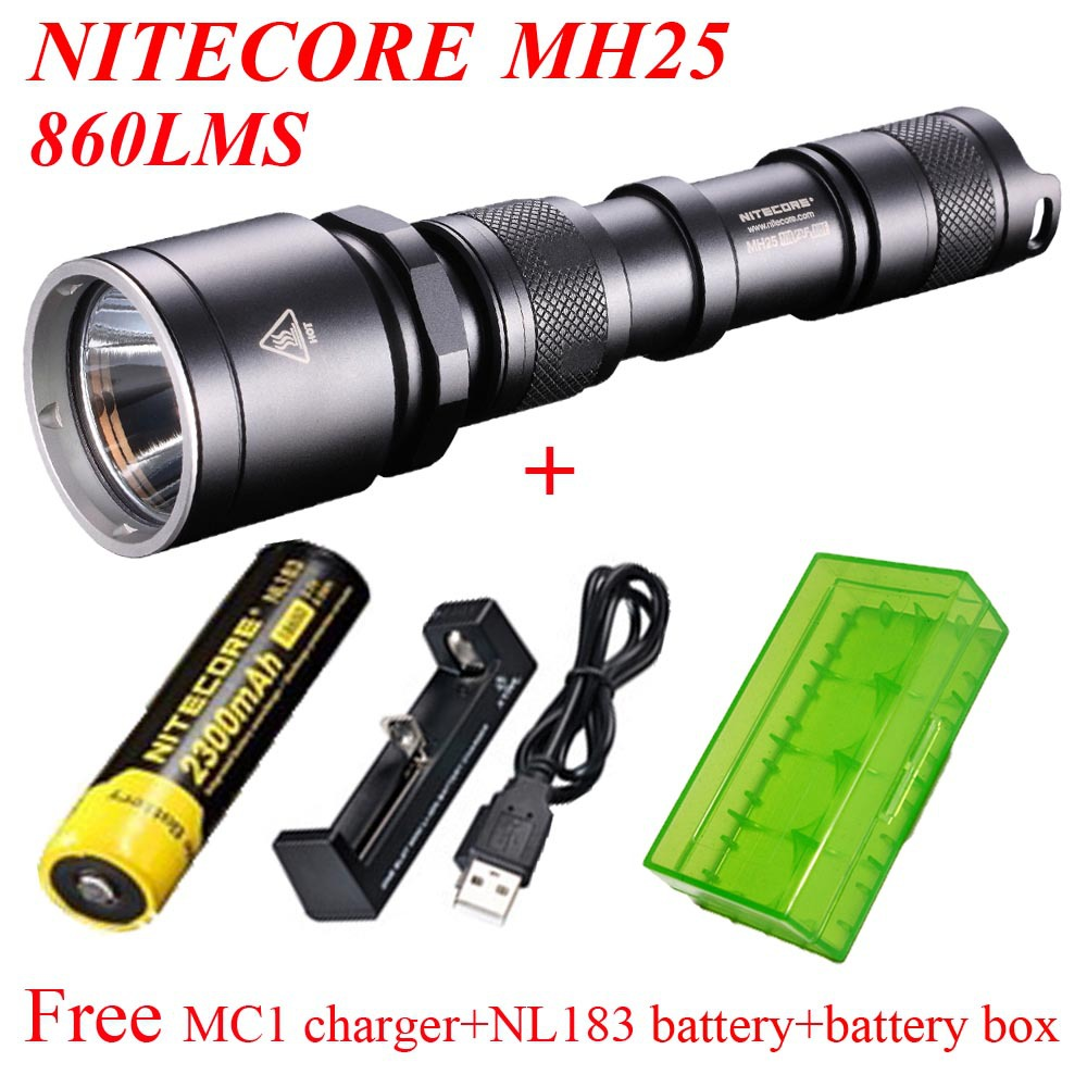 NITECORE MH25 Led Flashlights CREE XM-L T6 860 Lumens lantern led torch+ XTAR mc1 charger+NL183 Battery+ Usb Cable+Battery box 3800 lumens cree xm l t6 5 modes led tactical flashlight torch waterproof lamp torch hunting flash light lantern for camping z93
