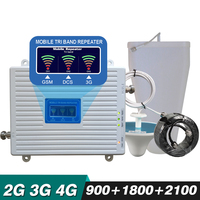 2G 3G 4G Tri Band Repeater GSM 900 DCS/LTE 1800 WCDMA 2100 MHz 70dB Gain Cellular Amplifier Cellphone Signal Booster Antenna Set
