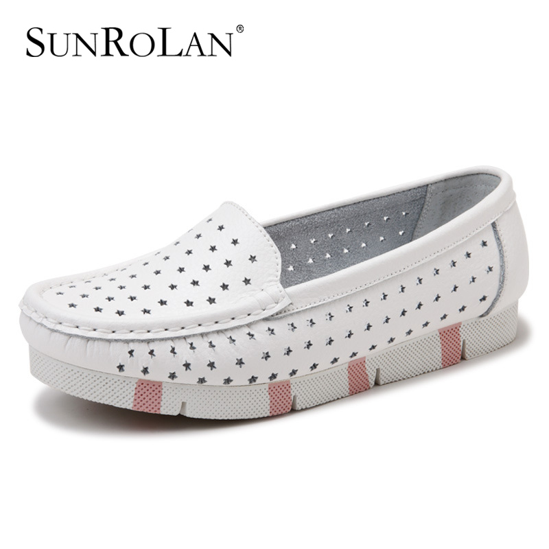 SUNROLAN 2017 Women Cut-out Shoes Slip-on Loafers Ladies Causal Round Toe Nurse Split Leather Flats Shoes Driving Shoes HYT979  wolf who 2017 summer loafers cut out women genuine leather shoes slip on shoes for woman round toe nurse casual loafer moccasins