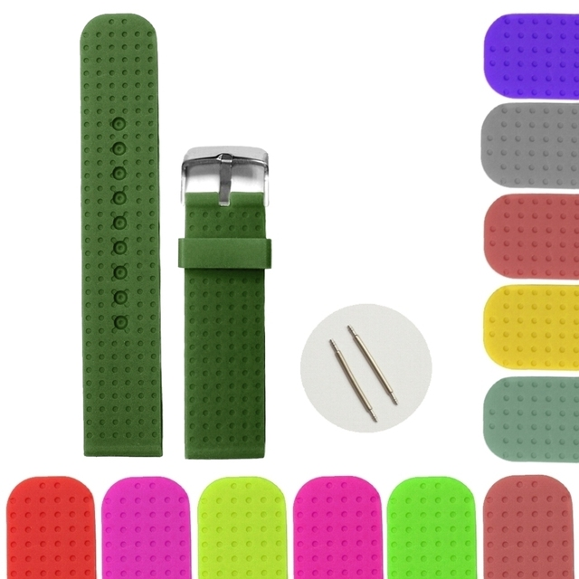 22mm Dark Forest Green Color Silicone Jelly Rubber Las Men Watch Band Strap Wb1074u22jb