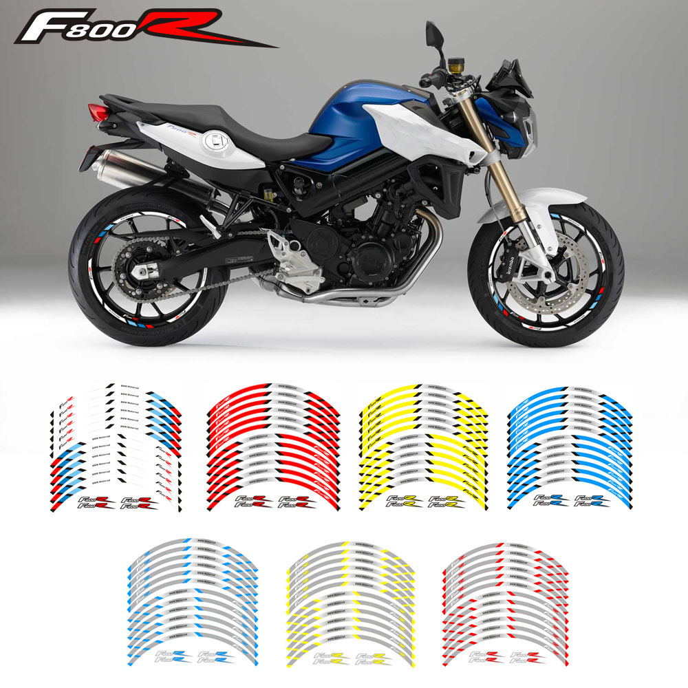 Motorcycle front and rear wheels Edge Outer Rim Sticker Reflective Stripe Wheel Decals For BMW F800R for aprilia mv agusta yamaha kawasaki honda bmw 848 1098 gsxr wheel sticker decal reflective rim motorcycle suitable for 17 inch