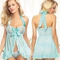 Холтер Baby Doll Сексуальное Женское Белье Sexy Babydoll Платье для Женщин плюс Размер Сексуальные Голубая Ночная Сорочка Белье Ночное Белье M XL XXL