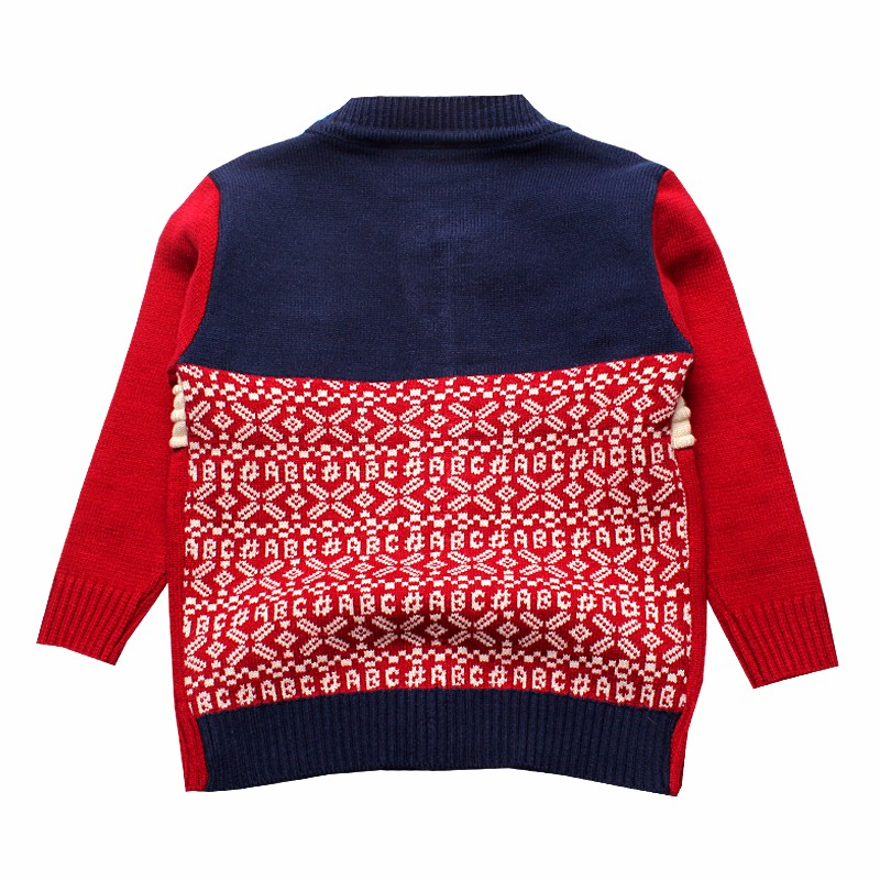 Boys Sweaters Print Cotton Top Knit Infant Outfit With Button Boy Corsage Outerwear Winter Warm Apparel Cardigan Knitted Clothes (2)