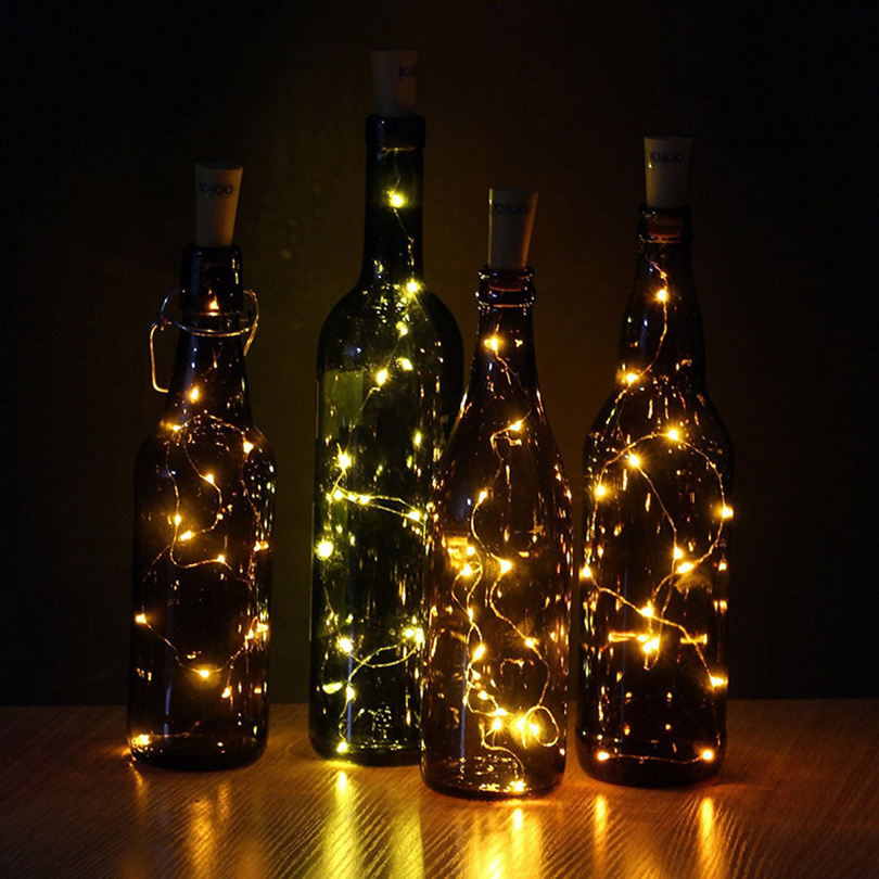 5pcs / lot 10pcs / lot Botol Botol Cork LED String Lights DENGAN - Pencahayaan perayaan - Foto 6